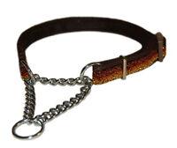 "brown bronze sparkle half check choke martingale medium dog training collar 3/4"""