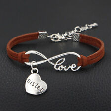 1x Infinity Love Sister Bracelet Anklet Heart Charm Friendship Sis Jewelry Brown
