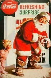 Refreshing Santa Coca Cola Surprise tin metal sign MAN CAVE brand new