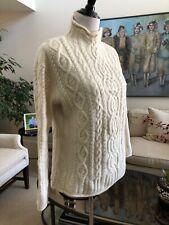 NWOT Aran Mor Ireland Ivory Mock Turtleneck Irish Cable Knit Sweater Size L