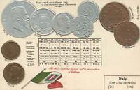 VINTAGE ITALY EMBOSSED SILVER COPPER & GOLD COINS POSTCARD - UNUSED