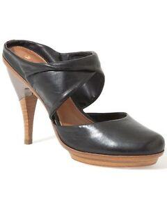 New Womens 8.5 NIB $338 Leifsdottir Shoes Heels Black Leather Metal Mules 38.5
