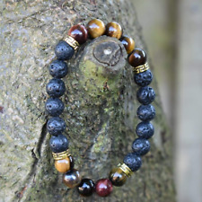 Diffuser Bracelet Red Tiger Eye And Lava Natural Stone Handmade Jewellery