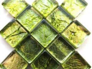 Green Silverfoil Glass Mosaic Tiles 1 cm - Art Craft Supplies