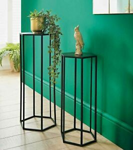 Black Planter Set of 2 Side Table Plant Stand Tables Metal Powder coated Black