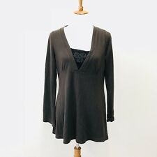 Royal Robbins Brown Bell Sleeve V Neck Embroidered Wool Sweater Womens Medium