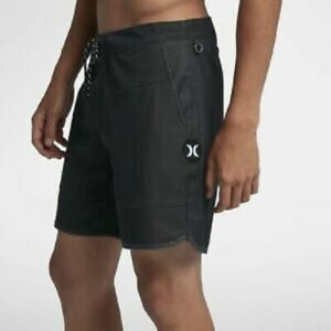 """Hurley Board Shorts BS Nautical 17"""" Length Black Mens Suit Size 36 $55"""
