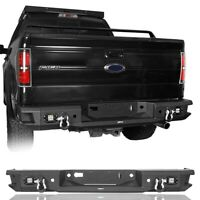 Rugged Adventures Black Rear Bumper w/ License Plate Light For 06-14 Ford F150