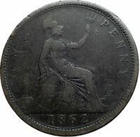 1862 UK Great Britain United Kingdom QUEEN VICTORIA Genuine Penny Coin i79514