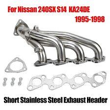 Short Stainless Exhaust Header For Nissan 240SX S14 1995-1998 KA24DE