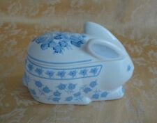 Blue & White Porcelain Trinket Box ~ Easter Bunny Rabbit Crowning Touch - Japan