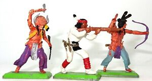 BRITAINS DEETAIL - THREE INDIAN WARRIORS - RARE ENGLISH FIGURES