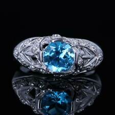 Sterling Silver Round 7mm Blue Topaz Real SI/H Diamonds Engagement Vintage Ring