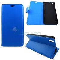 Custodia Azzurra eco pelle per HTC Desire 816 816G  8BOOKLET stand+tasche cover