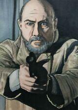 Original Aceo art sketch card Halloween Donald Pleasence Dr. Loomis Horror Ink