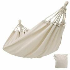 Portable Outdoor Camping Cotton Hammocks Double Hanging Swing Bed Tents White