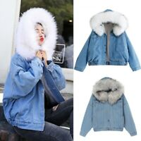 Womens Collar Hooded Coat Winter Pockets Short Jacket Warm Parka Denim Coats UK