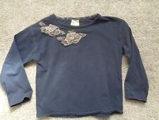 ZARA Little Girls Navy Long Sleeve Top Blouse Age 4-5 years Floral Embelishment