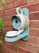 Teapot BirdHouse and Feeder / Sadler /  Bird Box  / Nesting Box  / Bluebell