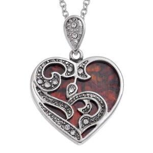 Scroll Heart Necklace Red Paua Abalone Shell Pendant Silver Fashion Jewellery