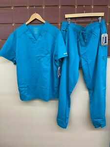 NEW Men's Cherokee Teal Solid Scrubs Set With XL Top & XL Pants NWT