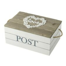 Vintage Wooden Love Post Storage Box With Rope Handles Carved Floral Heart Gift