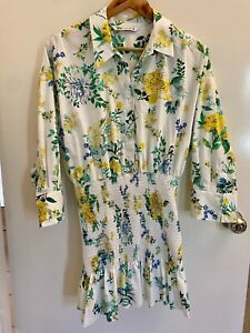 Zara Shirred Floral Dress