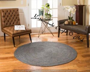Reversible Round Home Decor 6 x 6 Indian Jute Handmade Braided Floor Rag Rug Mat