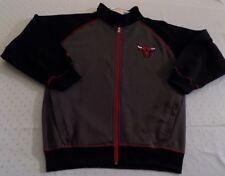 Chicago Bulls Full Zip Jacket Youth Large Charcoal Gray Embroidered Logos NBA
