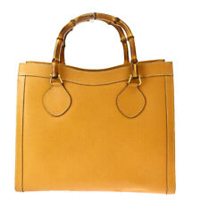 Authentic GUCCI Logo Bamboo Tote Hand Bag Suede Skin Leather Ocker Italy 07BQ851
