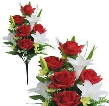 """Red White Poly Silk Memorial Rose Lily Flower 20""""Bouquet Cemetery"""