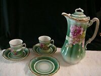 Antique Crown China Germany Hot Chocolate Pot with 2 Cups 3 Saucers Set Floral
