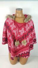Womens Rue 21 Hooded Poncho Red Christmas Holiday Faux Fur Hood Sz Medium M