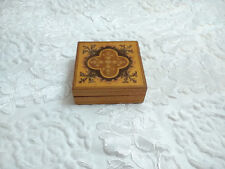Vintage Wood Square Trinket Jewellery Box