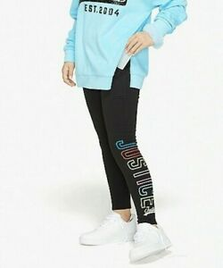 NWT JUSTICE GIRLS 7  8 10 12 14 FLEECE RAINBOW LOGO LEGGINGS FLEECE LINED-COZY!