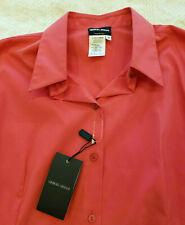 Giorgio Armani Blouse Women's 14 US 48 EUR Collar Buttons French Cuff Coral NWT