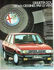 PUBLICITE ADVERTISING 056  1983   la Giulietta Alfa Romeo  & Agip