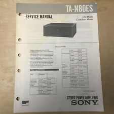 Original Sony Service Manual for the TA-N80ES Power Amplifier *Not a Copy*