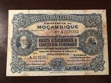1941 Mozambique 2 1/2 Escudos Banknote; Circulated Condition (See Pictures)