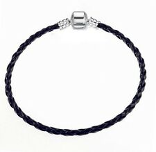 BRAIDED BLACK FAUX LEATHER SNAP CLASP CHARM BRACELET 8''