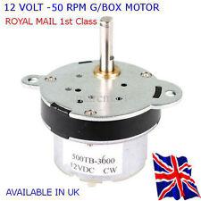12V DC alto esfuerzo de torsión motor eléctrico/Caja De Cambios 50 Rpm-Reversible-disponible en Reino Unido