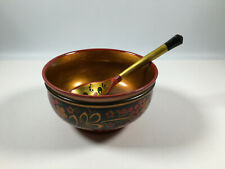 Vintage USSR Wooden Khokhloma Lacquerware Bowl With Spoon