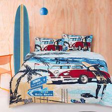 Kombi Van Surf Theme Queen Size Quilt / Doona Cover Set Retro Summer Vintage