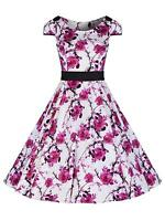 Ladies 1940's 1950's Vintage Pink Rose Print Jive Swing Prom Tea Dress BNWT 8-18
