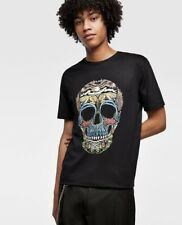 Zara Man New Round Neck T-shirt With Short Sleeves And Skull Print On The Front