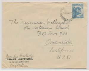 LO35433 Argentina 1951 to Oceanside good cover used