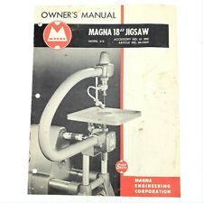 """Vintage 1954 Shopsmith Magna Model 610 ~ 18"""" Jigsaw Owner's Manual"""