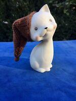 Department 56 Porcelain Cat RETIRED Brown Stocking Hat Christmas Santa Claus
