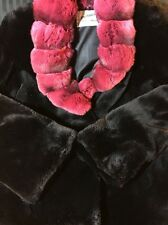 MINK WITH CHINCHILLA NECKLINE~BLACK~LARGE~SHORT~WOMENS FUR COAT{WITH CIRT}(NWOT)