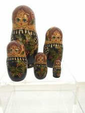 Russian Nesting Stacking Wooden Dolls Hand Painted - 5 Stacking Doll Set